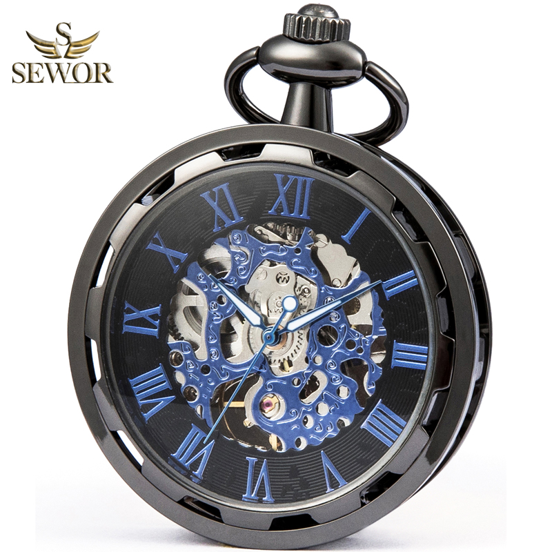 SEWOR Luxury Brand 2019 New Fashion Black Skeleton Men Sport  Mechanical Pocket Watch Gift Pocket Fob Watches C263