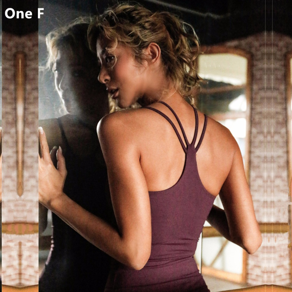 One F Women's Compression Yoga Tank Top With Removable Pad Criss-Cross Straps Fitness Clothing Dry-Fit Sleeveless Sport T-shirt red criss cross leaf print zip front tank