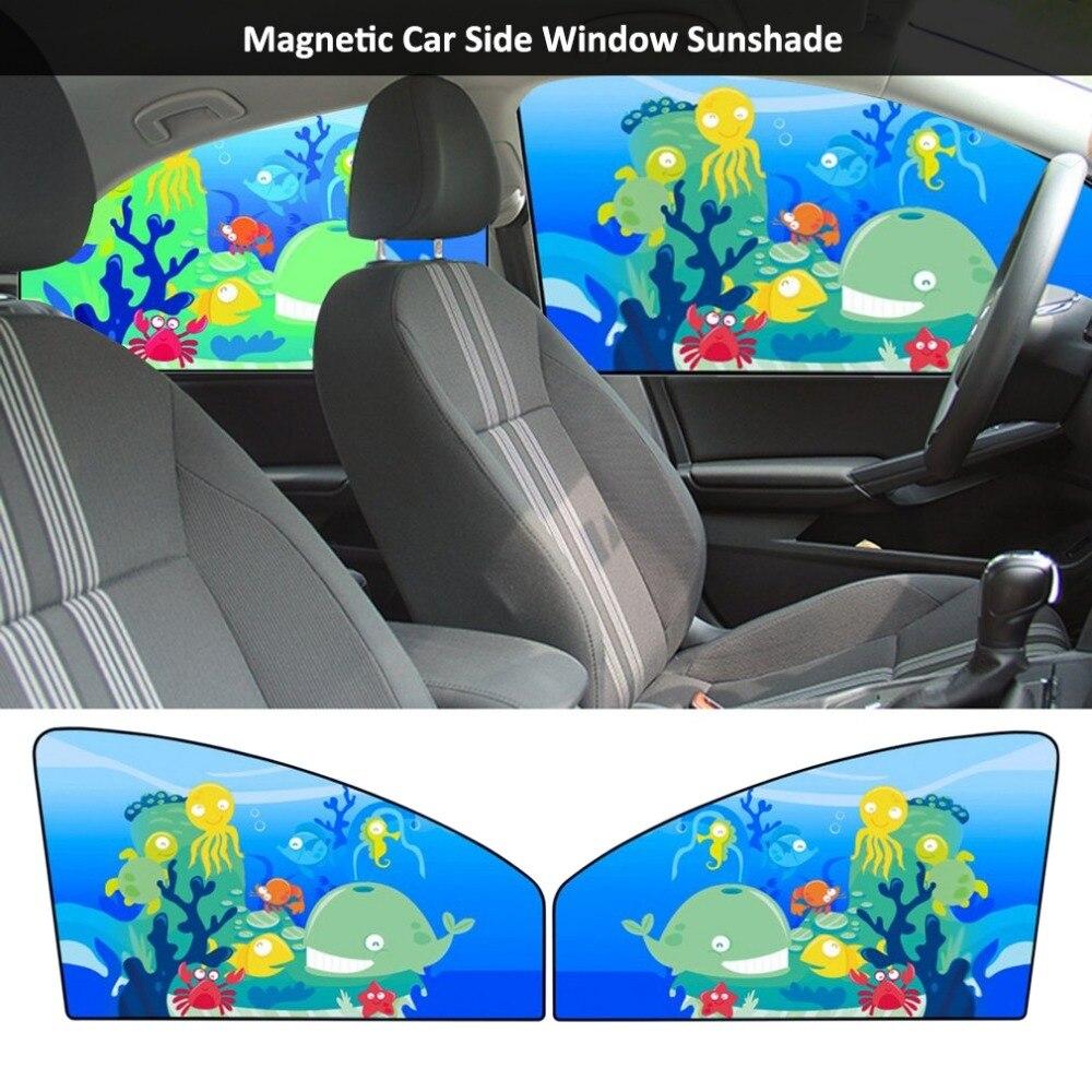 Auto Styling Magnetische Auto Side Window Zonnescherm Gordijnen Auto Windows Zonneklep Dier Patroon Jaloezieën Cover Verstelbare Zonnescherm