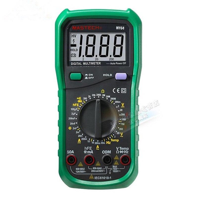 MASTECH MY64 Digital Multimeter DMM Frequency Capacitance Temperature Meter Tester w/hFE Test Ammeter Multitester Multimetro