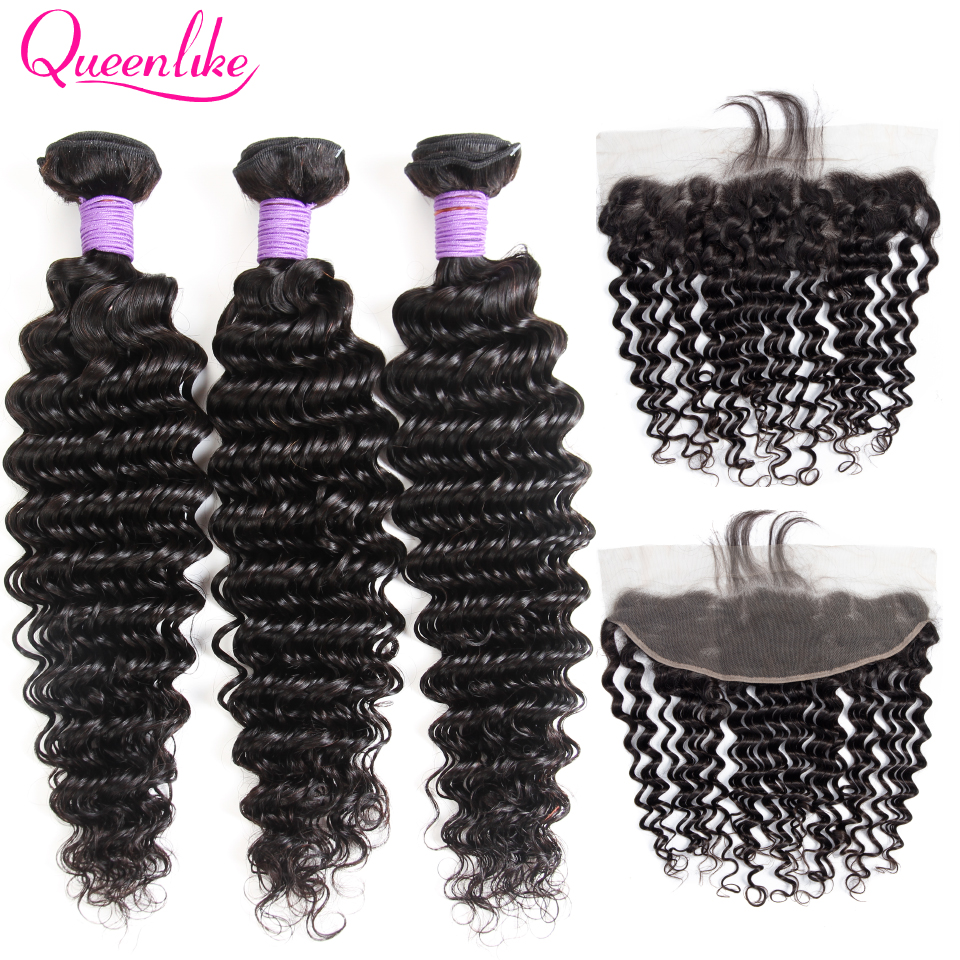 Brazilian Deep Wave Bundles With Frontal Closure Non Remy Human Hair Weave 13x4 Pre Plucked Lace