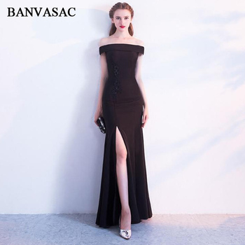 BANVASAC 2018 Boat Neck Lace Flowers Appliques Split Mermaid Long Evening Dresses Party Short Sleeve Backless Prom Gowns