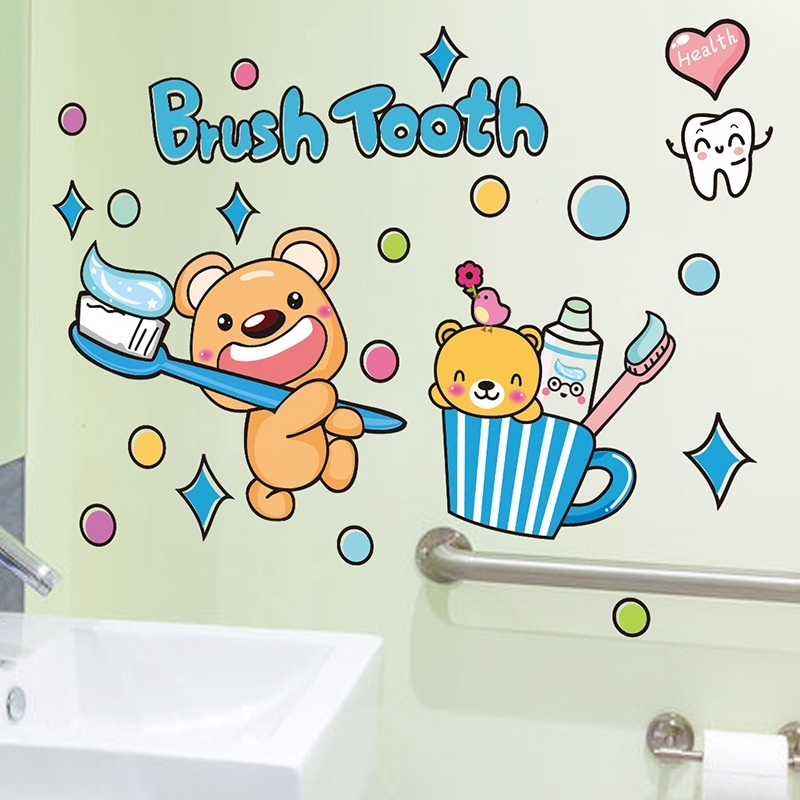 Badezimmer wandaufkleber lustige zähneputzen bild für bad-in ...