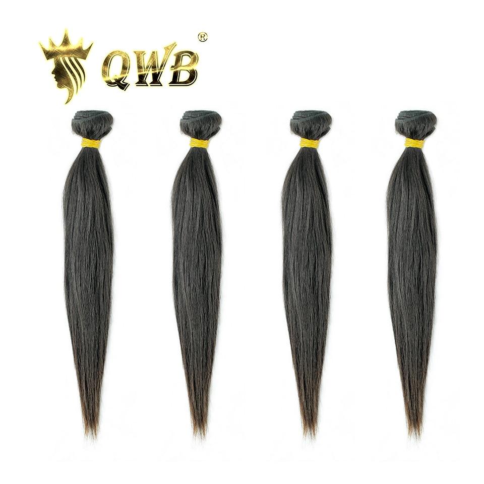 QWB Straight Free shipping 4Bundle Lots 10 28 Queen Weave Beauty Brazilian Virgin Nature Color 100