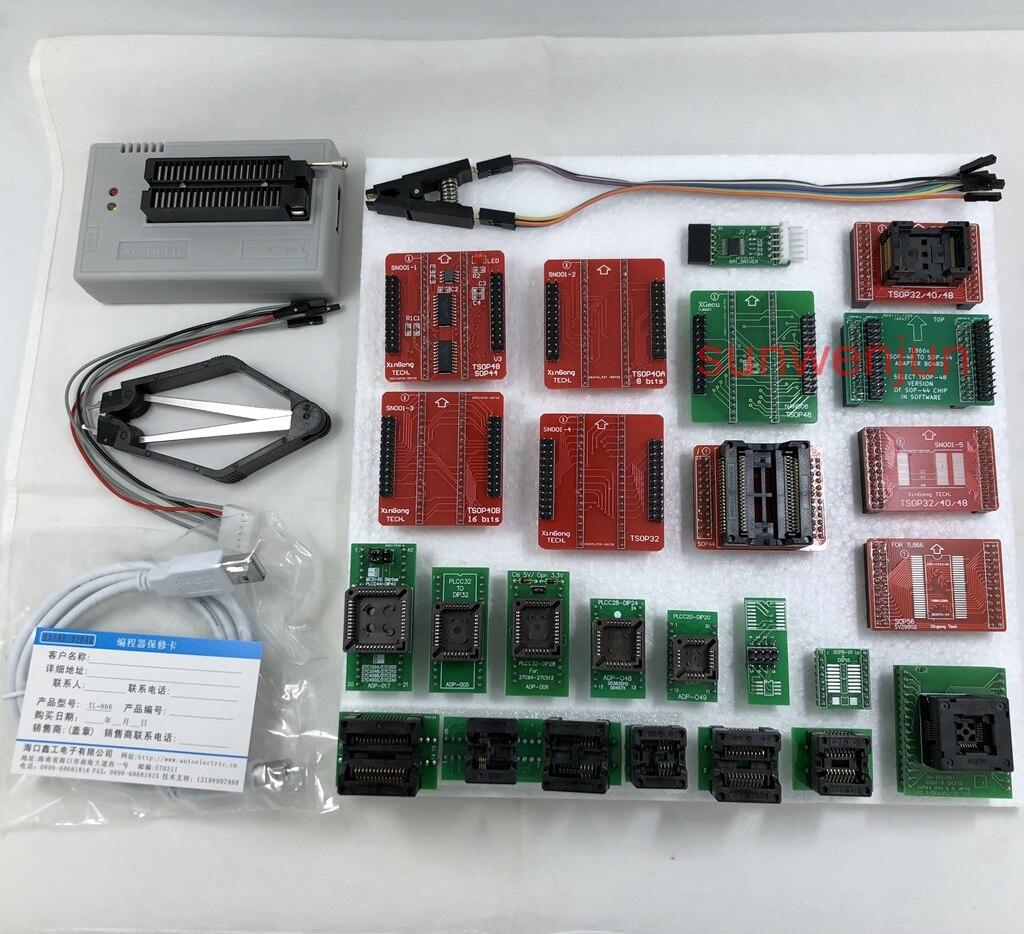 Black Edition V8.30 XGecu TL866II Plus Programmateur USB 15000 + IC SPI Flash NAND EEPROM MCU PIC AVR + 25 pièces ADAPTATEUR + SOIC8 Testclip