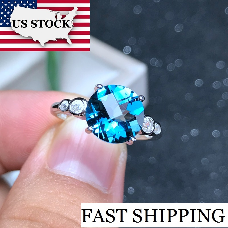US STOCK Uloveido Topaz Ring for Women 925 Sterling Silver Wedding Jewelry 6 8mm Gemstone with