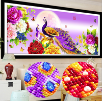 New Home Decoration 5d Diy Diamond Painting Peacock Peony Cross Stitch Diamond Embroidery Crystal Round Diamond