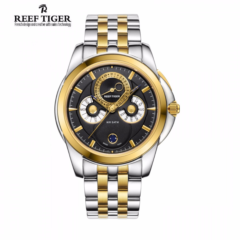 Reef Tiger/RT Two Tone Yellow Gold Dress Watch Muti-Functional With Date Calendar Moon Phase for Men RGA830 часы dkny ny2289 two tone gold