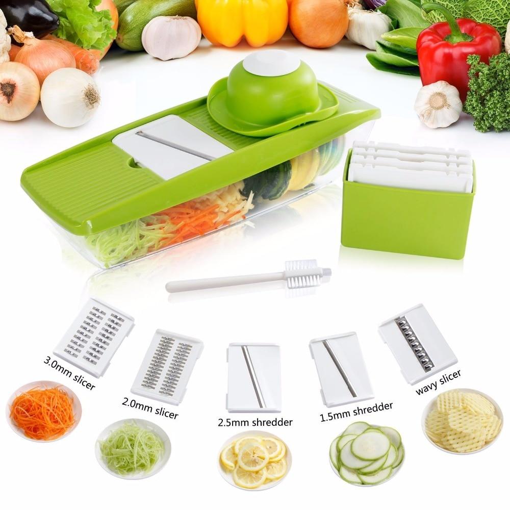 Lifewit Mandoline Slicer Vegetable Slicer Set Stainless Steel 3 Slicers and 2 Shredders with Container Food
