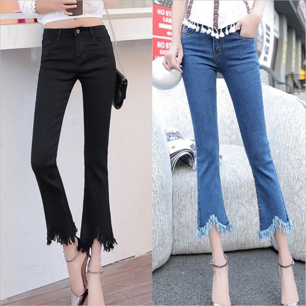 #4402 New Fashion Tassel Black  Women's  Flares Denim Boyfriend Skinny Ripped Jeans For Women Female Pants Trousers Size 26-32