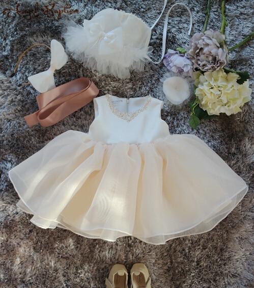 Bling beads baby christening dress baptism gown first birthday dress cute newborn girl flower girl dress for wedding party