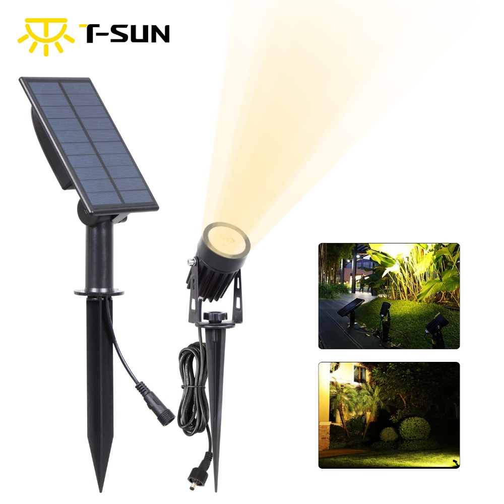 T-SUN LED Landscape Solar Spotlights Waterproof Outdoor Solar Lights Auto ON/OFF Solar Wall Lights for Garden Driveway Pathway brd technology solar powered 4 led spotlight outdoor waterproof garden 1 5w led bright white light lamp for outdoor landscape garden driveway pathway yard lawn house tree etc solar energy exterior lighting auto on at night and auto off by day