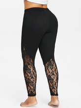 Women's Plus Size Sheer Lace Skinny Black Leggings