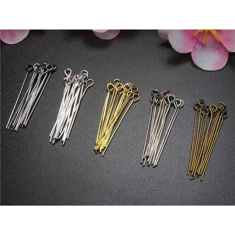 200pcs Gold Silver Eye Head Pins 16 20 25 30 35 40 45 50 mm Metal Eye Pins Connector For Diy Earrings Jewelry Making Findings