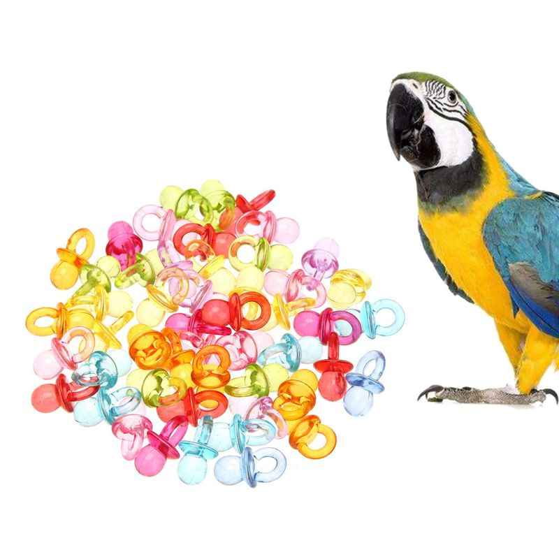 50pcs Parrot Bird Nipple Bite Chew Toys Acrylic Colorful DIY Accessories