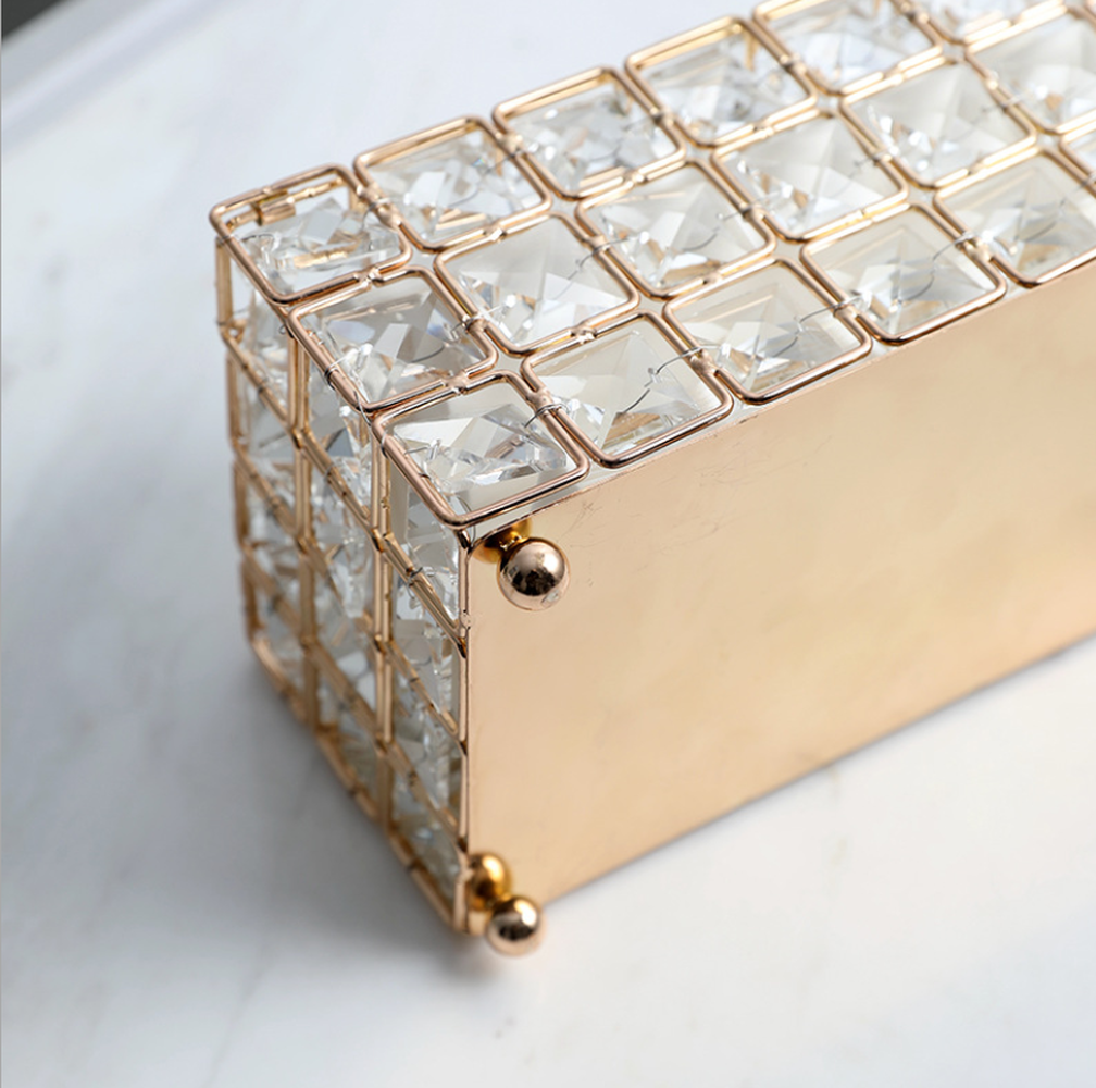 Image 4 - Light Luxury Gold plated Wrought Iron Tissue Box Living Room Storage Tray Napkin Holder Box For Creative Desktop Decoration-in Tissue Boxes from Home & Garden