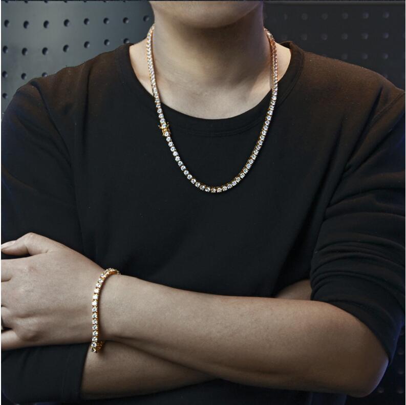 2018 top qualité hommes bijoux 5mm hip hop bling cubique zircone cz chaîne de tennis or argent couleur hommes garçon bracelet collier ensemble
