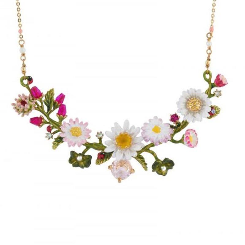 CSxjd New Enamel Glaze Daisy ladybug flower gem necklace Luxury women s jewelry wedding party accessories