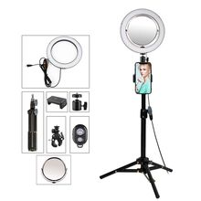 9 بوصة التصوير الفوتوغرافي الإضاءة Selfie مصباح مصمم على شكل حلقة مع حامل ثلاثي القوائم حامل الهاتف مرآة ل يوتيوب فيديو كاميرا ليد الإضاءة