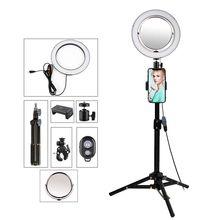 9 inç fotoğraf aydınlatma Selfie halka ışık ile Tripod standı telefonu için ayna tutucu YouTube videoları LED kamera LightRing