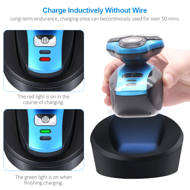 TINTON LIFE USB Wireless Charging 3 Blades Electric Shaver Full Body Washable Shaving Maching Electric Razor For Men Electric Shavers