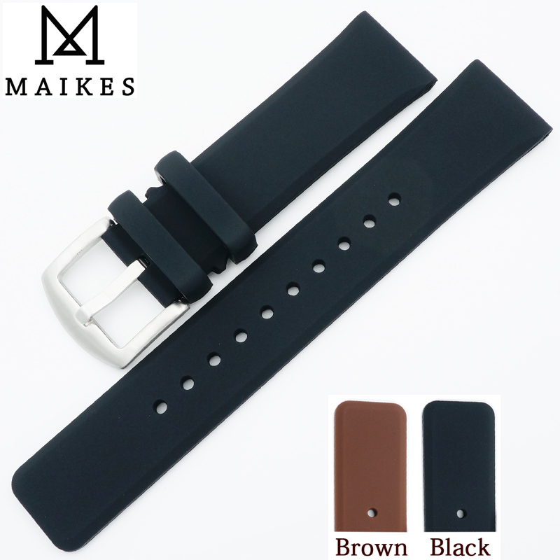 MAIKES 22mm Soft Comfortable Silicone Watch Band Strap Men High Quality Rubber Watchband For Sport Dive Watch men hengrc 22mm rubber watch band strap men soft diving black hole silicone sport watchband bracelet metal pin buckle accessories