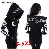 2018 Hoodies Women Coat Gothic Punk Moon Letters Printed Sweatshirts Winter Autumn Long Sleeve Zipper Fashion Streetwear Coat