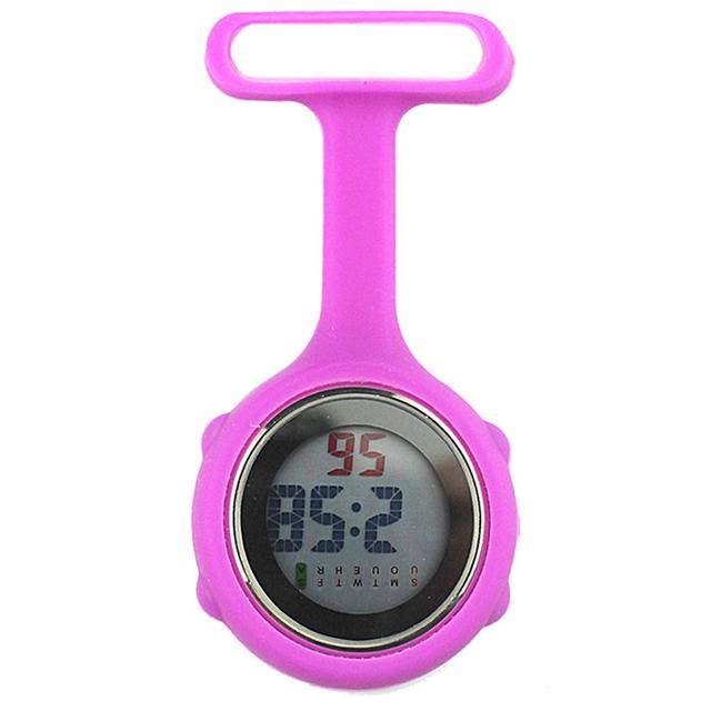 1Pc Silicone Digital Display Dial Clip-On Fob Nurse Brooch Pin Hang Pocket Elect