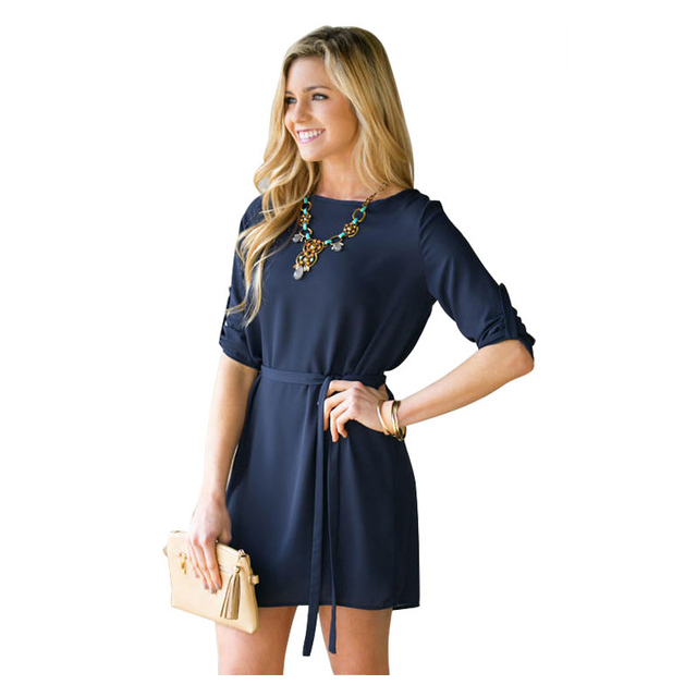 9953a9e2ef 2017 New Fashion Women Office Dress Casual Navy Blue Dresses Long Sleeve  Mini Dess with Belt