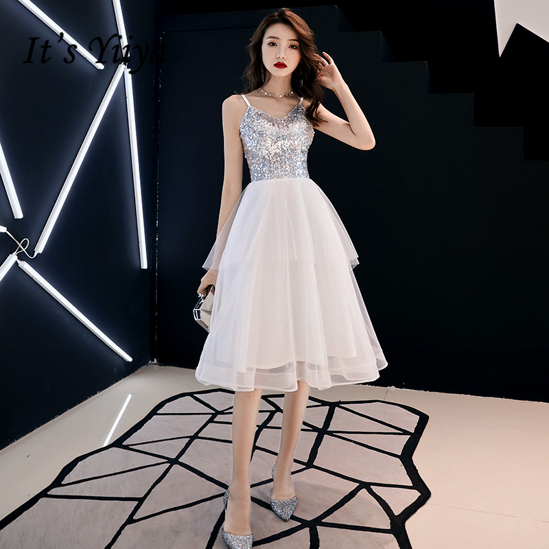 It's YiiYa   Cocktail     Dresses   Sexy V-neck Spaghetti strap Party Formal   Dress   Royal Lace Illusion Sequined Prom Ball Gowns E357