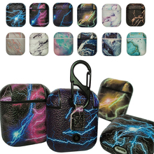New Flashing Lighting Marbling Sea Wave Pattern Leather Earphone Protective Case Skin Cover For Apple AirPods Anti-Scratch Cover