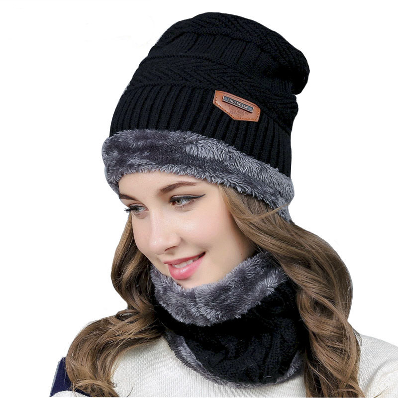 Balaclava Knitted hat scarf caps neck warmer Winter Hats For Men women   skullies     beanies   warm Fleece cap