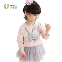 Autumn Winter Baby Girl Outfit Lovely 3D Rabbit Child Baby Girl Cotton Dress Korean Long Sleeve