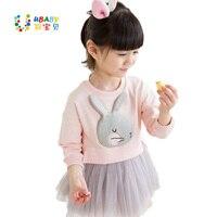 3D Konijn Kind Baby Katoenen Top + Tutu Jurk 2 stks Sets herfst Winter Meisje Kids Mooie Koreaanse Lange Mouw Roze/Rode Kleding