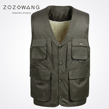2017 Zozowang new loose solid brushed v-neck fashion Single Breasted casual keep warm autumn waist coat men Dark gray plus size