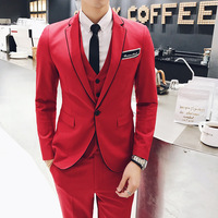 Mens Tuxedo 2017 Red Mens Party Suits Winter British Style Suits Mens Fashion Latest Coat Pant
