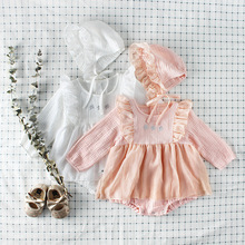 Everweekend Sweet Baby Girls Tulle Ruffles Rompers with Hats Candy Pink White Color Spring Autumn Clothes