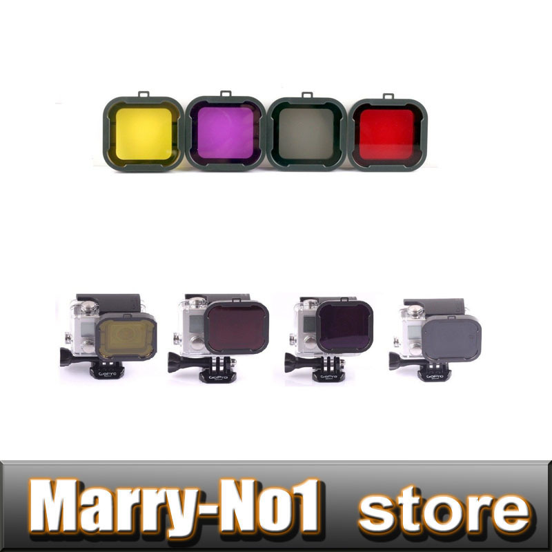 4PCS New Snap-on Diving Housing Macro Lens Glass Filter For HD Gopro Hero 3+ 4 GO PRO ...