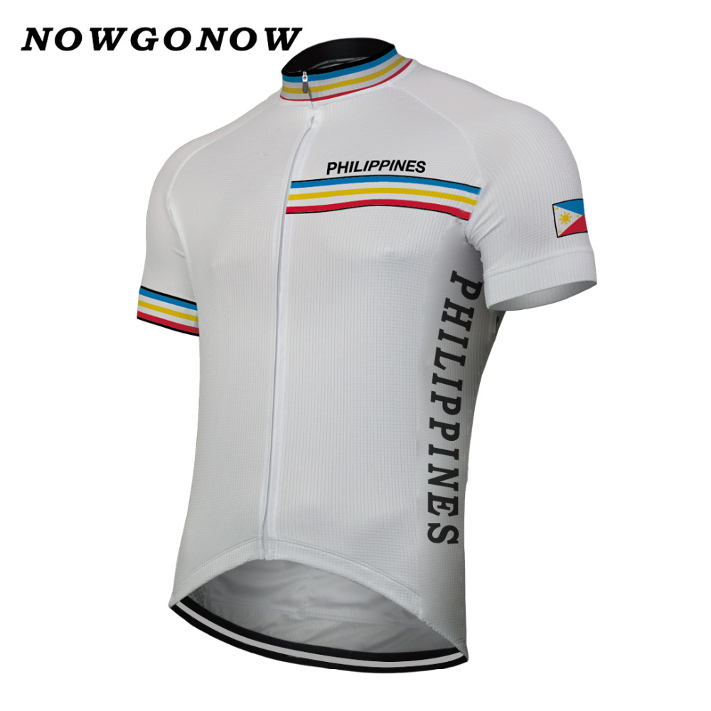 36cddd2db NOWGONOW 2017 Cycling Jersey men white blue national team ...