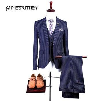 Новинка 2018, брендовый темно синий мужской костюм в полоску, смокинг жениха, блейзер, приталенный, 3 предмета, костюмы для выпускного, свадьбы,
