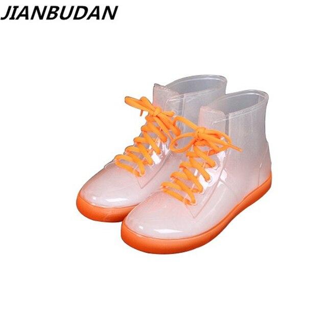 JIANBUDAN Rain boots women with short boots  new 2017 transparent waterproof boots ms antiskid rubber boots size  35-39