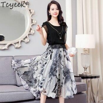 Real Silk Long Dress Women Slim Print Summer Dress Party Maxi Vestidos Ladies Elegant Clothes Plus Size Vestido WW025