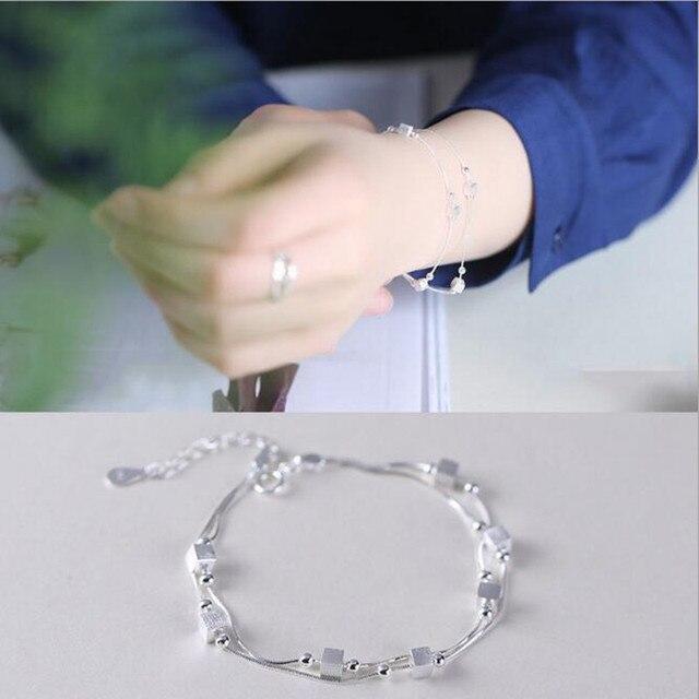 Женский многослойный браслет из серебра 925 пробы sb21