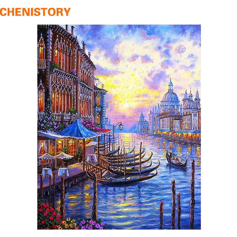 CHENISTORY Europe Venice Night DIY Painting By Numbers Abstract Olieverfschilderij Acrylverf op nummer voor huisdecoratie