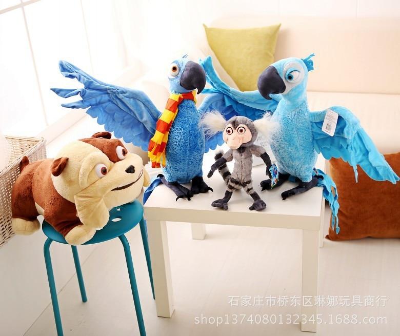 Oyuncaklar ve Hobi Ürünleri'ten Doldurulmuş ve Peluş Hayvanlar'de 4 adet bir set peluş Rio filmi Blu, Mücevher, bulldog, marmoset maymun, oyuncak 28 cm 38 cm bebek hediye 0179'da  Grup 1