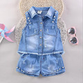 2017 Cartoon Print Summer Girls Clothing Sets Baby Toddler Kids Girl Clothes Denim Sleeveless Tops+Short Pant 2Pcs Suit JW1317