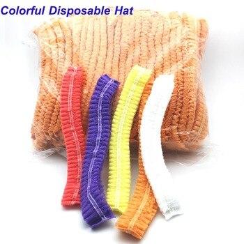 100PCS Disposable Hair Shower Cap Non Woven Pleated Anti Dust Hat Hotel Salon Supplies Set Non-woven Bouffant Shower Caps