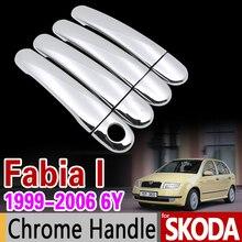 Para Skoda Fabia I 1999-2006 6Y Chrome Cubierta de La Manija Conjunto MK1 2000 2001 2002 2003 2004 Coche Accesorios de la Etiqueta Engomada Car Styling