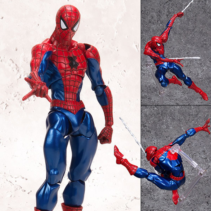 Action Figure Toys PVC 16cm Mavel Super Hero Spider Man Joint Movable Face Exchange Doll Hand Model Surprise Gift For Kids 2017 new avengers super hero iron man hulk toys with led light pvc action figure model toys kids halloween gift
