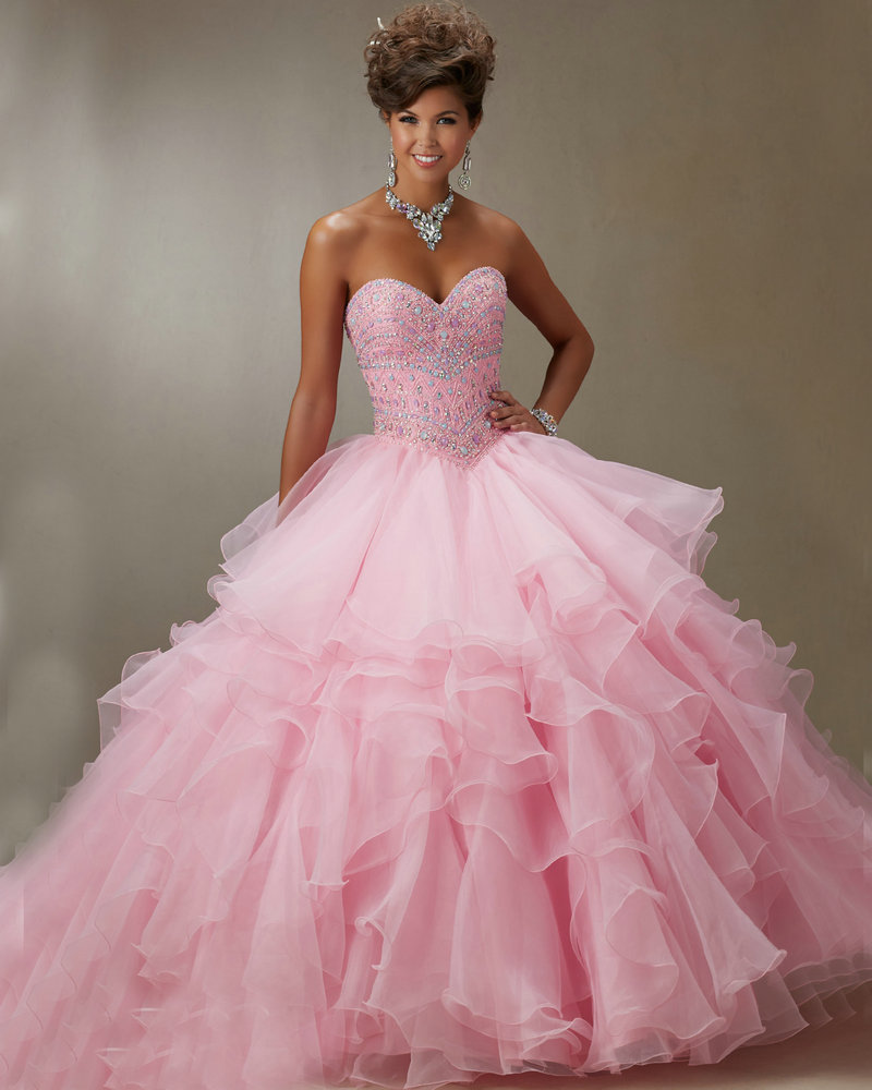 89061 Light Aqua Pink Organza Ball Gown Dress for 15 Years With ...